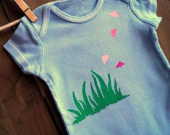 Summer Day - 0-3M Baby Onesie (Fresh Green with Shades of Pink Butterflies) -Soft blue bodysuit