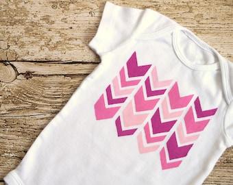 Sweet Shades of Pink (Chevron Geometric Pattern on White Onesie) Newborn Sized Baby Bodysuit - Tribal Design