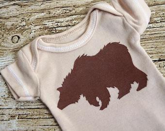 Preemie -- Brown Grizzly Bear (Chocolate Brown on Beige Tan Onesie) -- 3-7lb Baby Bodysuit