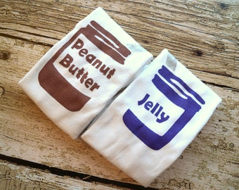 Peanut Butter and Jelly Onesies Set (Peanut Butter Brown and Grape Jelly Purple) 0-3M Baby Bodysuit -- Twin Set