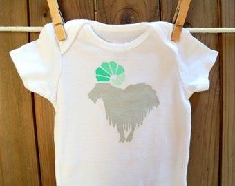 Billy Goat Gruff Onesie (Deep Gray Shades of Light Green) - 3-6M Baby Bodysuit - Door County
