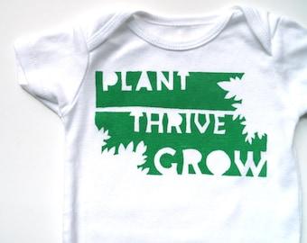 Plant Thrive Grow  - Gardening (Grass Green White Onesie) -- 6-9M Baby Bodysuit