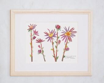 Art Print of Original Wildflower Collage- Eastern Silvery Aster Wildflower