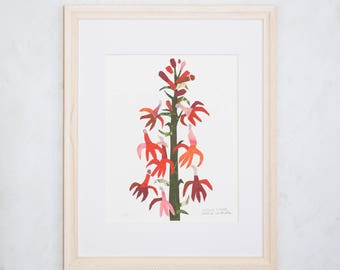 Art Print of Original Wildflower Collage- Cardinal Wildflower