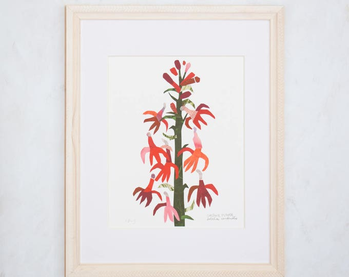 Art Print of Original Wildflower Collage- Cardinal Wildflower