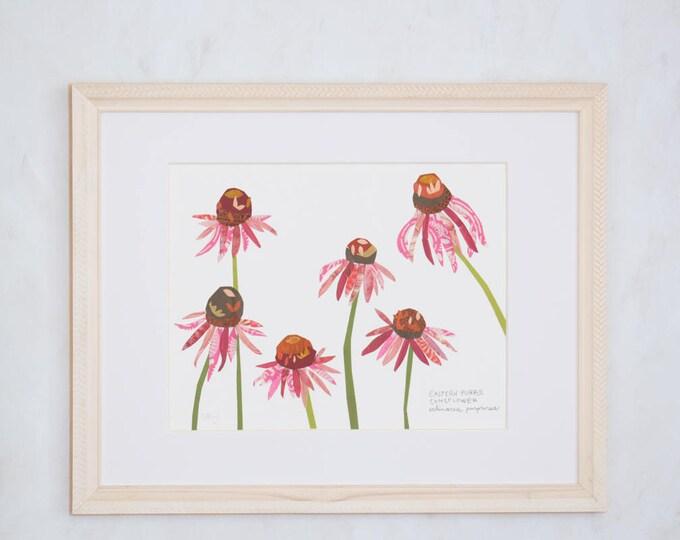 Art Print of Original Wildflower Collage- Eastern Purple Coneflower Wildflower