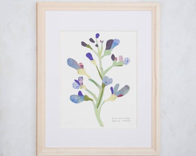 Art Print of Original Wildflower Collage- Blue Wild Indigo Wildflower