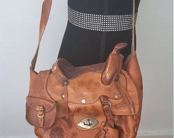 1eb8c7a573d Vintage Tooled Leather Saddle Purse Hippie Boho Festival Leather Pouch Purse