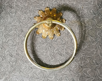 Towel Ring and Toilet paper Holder Made in Taiwan Gold Ornate Bathroom Set Vintage Bathroom Ornate Brass Hardware Set of 3 Towel Rack