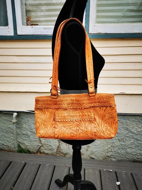 Vintage Large Tooled Leather Purse Large Boho Retr