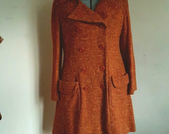 Vintage Wool Coat Double Breasted Coat Mod 60's