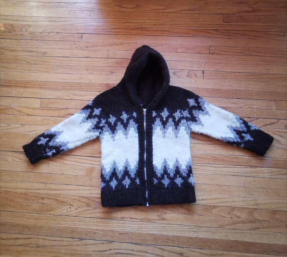Wool Cowichan Sweater Childs Hooded Thick Wool Cow