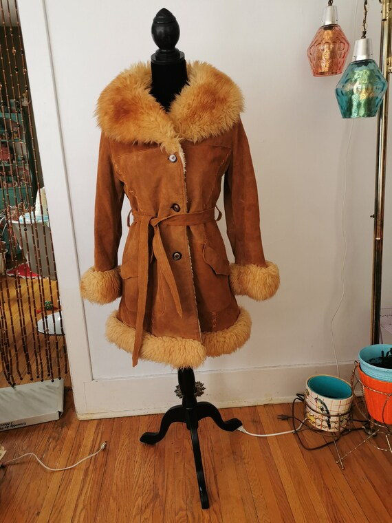 Vintage 1970's Shearling and Real Leather Coat