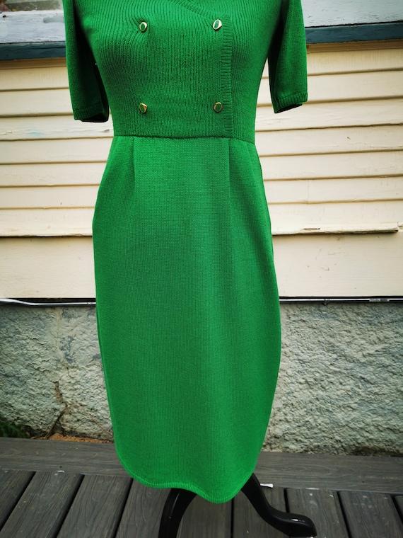 Vintage 1960s Green Wiggle Sweater Dress, Puff Sl… - image 5