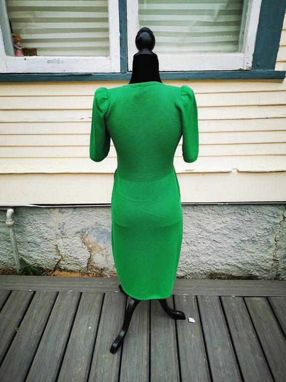 Vintage 1960s Green Wiggle Sweater Dress, Puff Sl… - image 2
