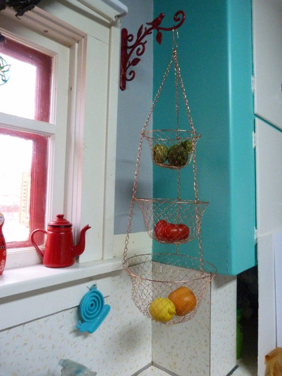 Vintage 3 Tier Wire Hanging Kitchen Basket Copper Color   Etsy