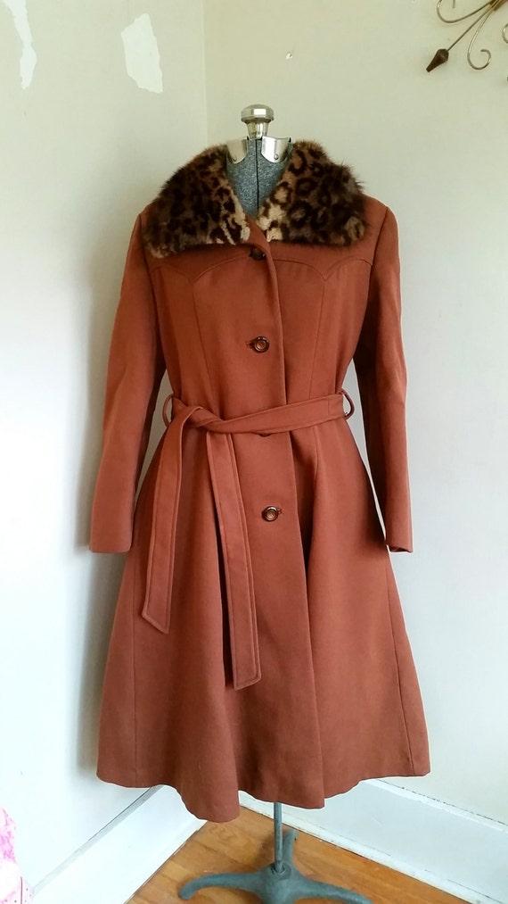Vintage 1960's Wool And Fur Princess Coat - image 2