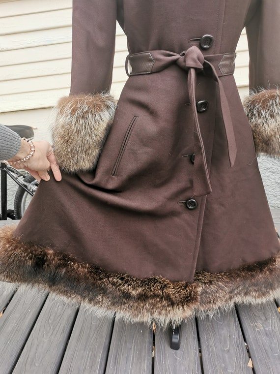 Vintage 1950s Wool Princess Coat With Fox Fur Trim - image 7
