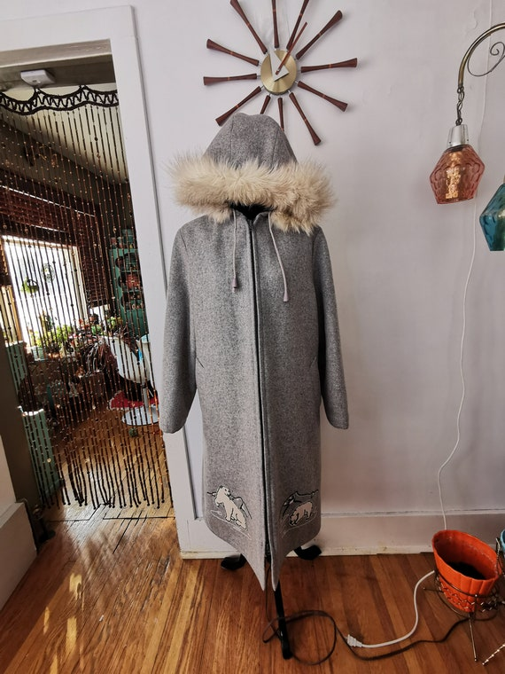Vintage Inuit Coat Grey With Shell Wool and Fur Ha