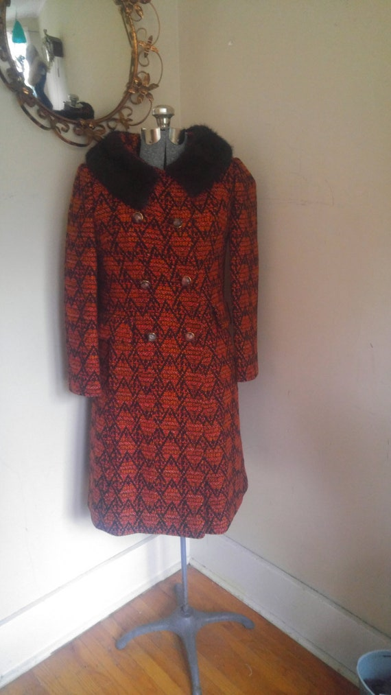 1960's Fitted Mod Coat Mink Collar 1960's Swing Co
