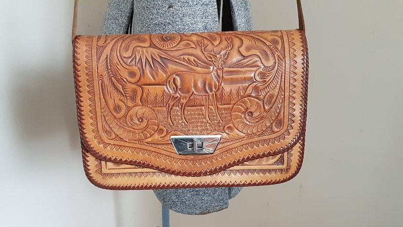 Vintage Tooled Leather Deer Buck Purse Handbag deer and Flower Pattern Made  In M... Vintage Tooled Leather Deer Buck Purse Handbag deer and Flower  Pattern ... 4da79608586d1