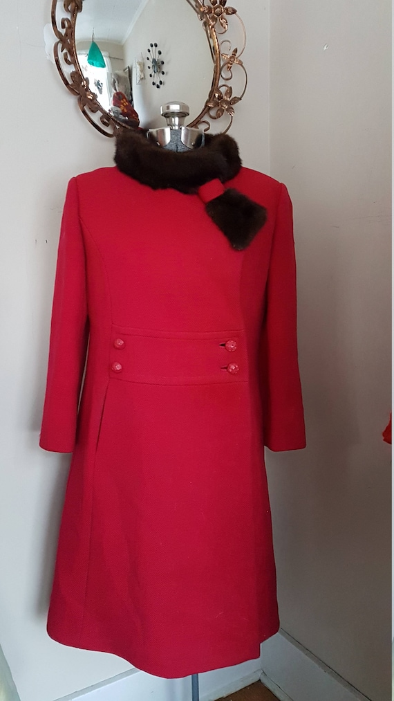 1960's Fitted Mod Coat in Red Mink Collar 1960's P
