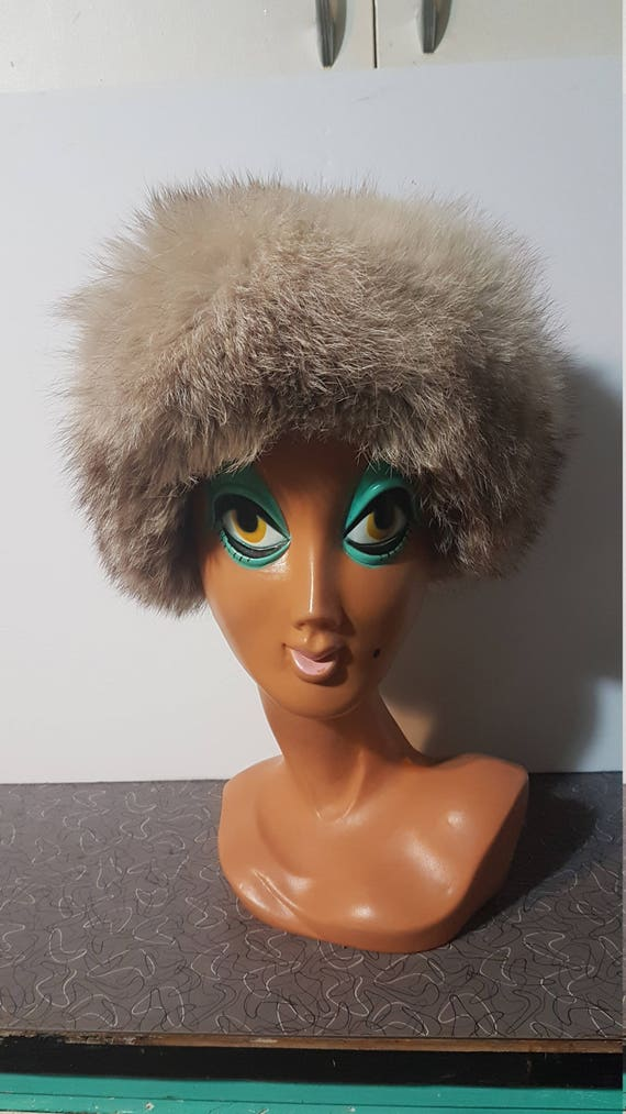 Vintage Russian Blue Fox Fur Hat