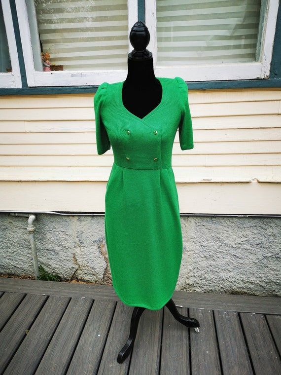 Vintage 1960s Green Wiggle Sweater Dress, Puff Sl… - image 7