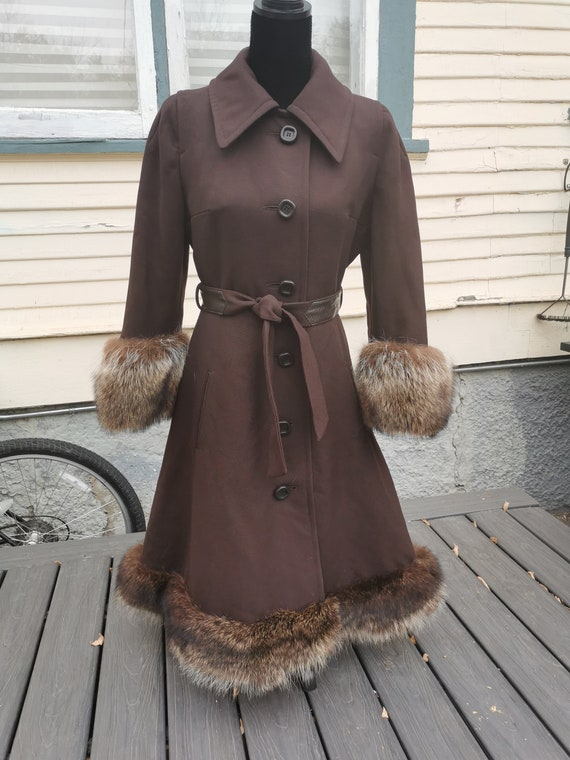 Vintage 1950s Wool Princess Coat With Fox Fur Trim - image 10