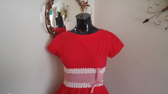 Vintage Gingham Dress 1950's Cute Picnic Dress