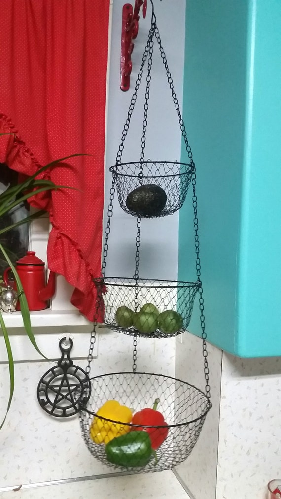 Vintage Wire Hanging Kitchen Basket Black