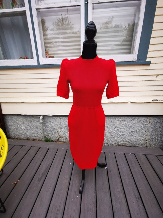 Vintage 1960s Red Wiggle Sweater Dress, Mad Men Wo