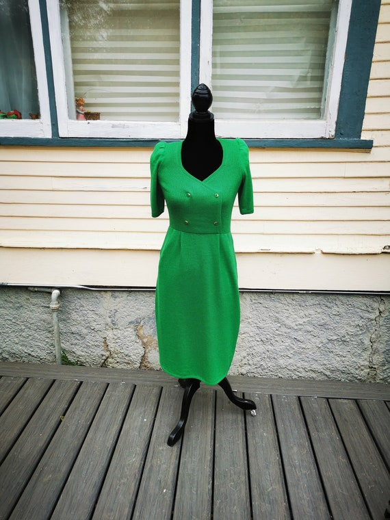 Vintage 1960s Green Wiggle Sweater Dress, Puff Sl… - image 1