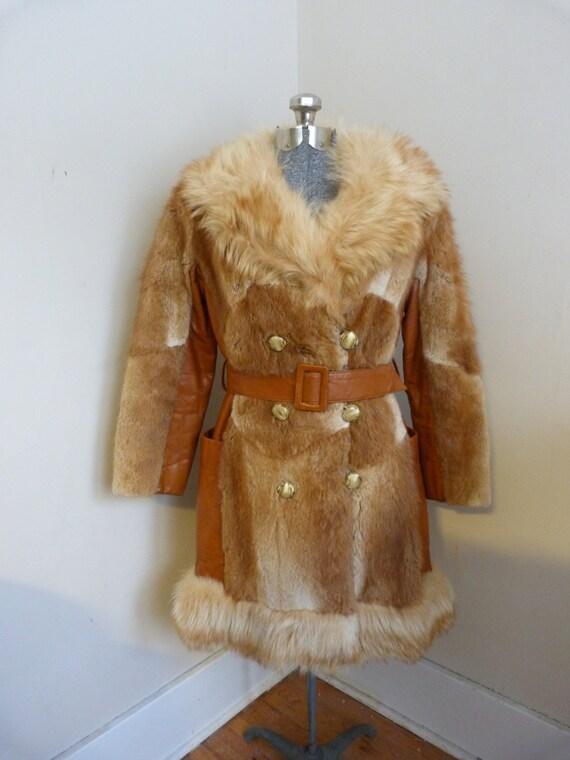 Vintage 1970's Fox Fur and Leather Coat Vintage Fu