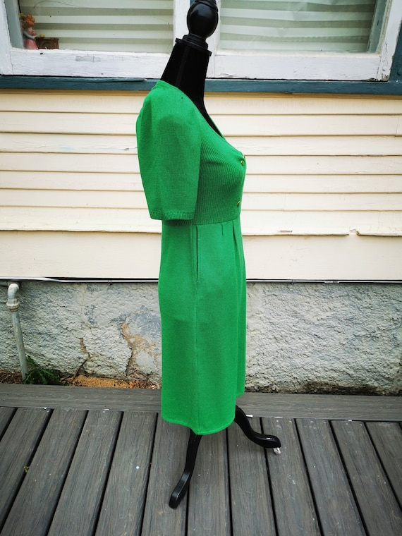 Vintage 1960s Green Wiggle Sweater Dress, Puff Sl… - image 3