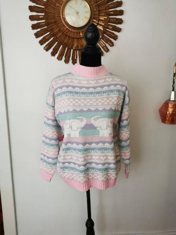 Vintage Pastel Glitter Sweater Adele Knitwear 1980