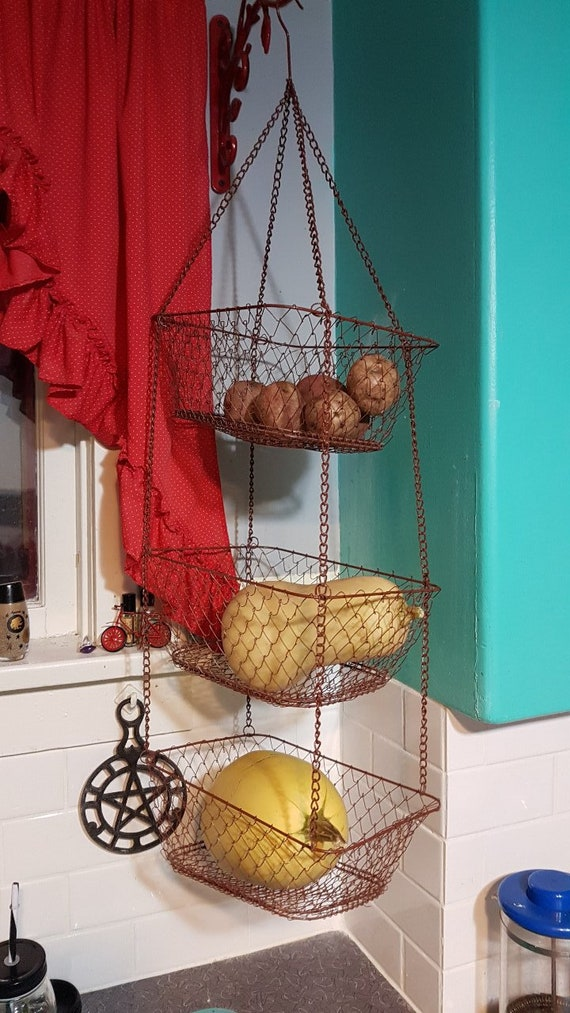 Vintage Heavy Duty 3 Tier Wire Hanging Kitchen Basket, Kitchen Hanging  Basket