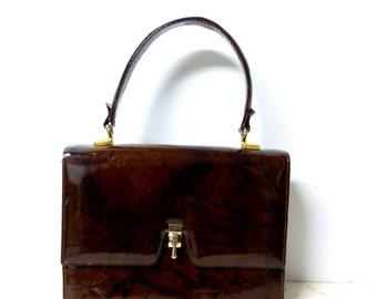Vintage 1950's or Early 60's Handbag Brown Marbled