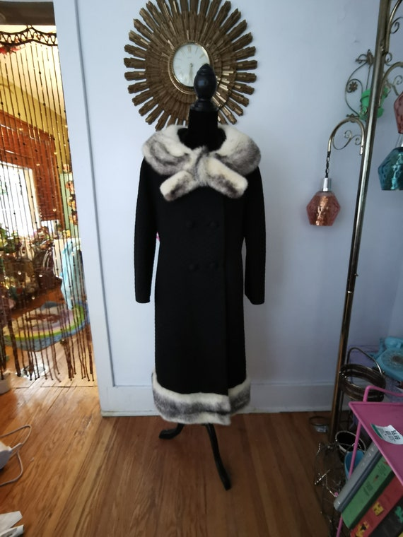 1960's Fitted Mod Coat Mink Collar 1960's Princess