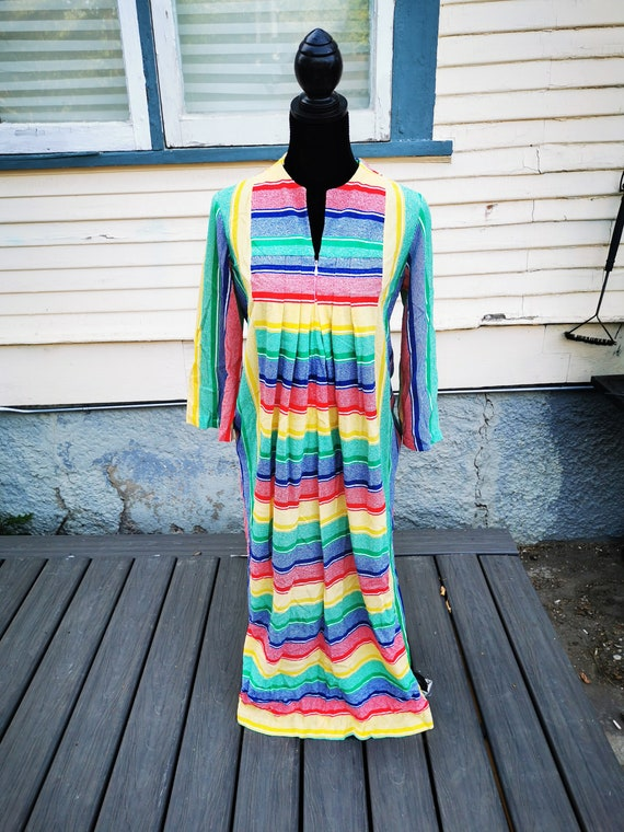 Rainbow Towel Terry Cloth Robe 1970s Vintage Towel