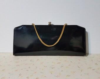 Vintage noir brillant Mod embrayage sac à main des années 1950