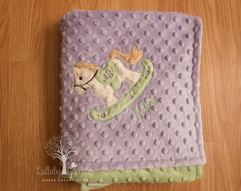 Rocking Horse Minky Baby Blanket, Personalized Minky Baby Blanket, Appliqued Baby Blanket, Baby Girl Minky Blanket, Personalized Baby Gifts,