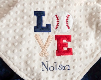 Personalized Baby Boy Minky Blanket, Appliqued Love Baseball, Stroller Blanket, Crib Blanket, Toddler Blanket, Baby Gift, Baby Shower Gift