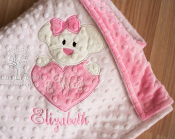 Puppy Personalized Minky Baby Blanket, Girl Puppy Appliqued Minky Blanket, Monogramed Minky Baby Blanket, Personalized Minky Baby Blanket