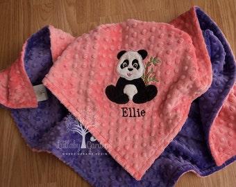 Panda Personalized Minky Baby Blanket, Appliqued Panda Minky Baby Blanket, Personalized Baby Gift, Coral Panda Bear Baby Blanket