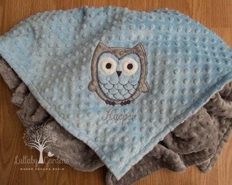 Personalized Minky Baby Blanket, Owl Minky Blanket, Owl Baby Blanket, Blue and Gray Minky Blanket, Appliqued Owl Minky Blanket