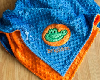 Gator Personalized Minky Baby Blanket, Alligator Appliqued Baby Blanket, Gators Appliqued Blanket, Gators Minky Blanket, Baby Boy Blanket