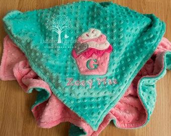 Cupcake Personalized Minky Baby Blanket, Personalized Baby Gift, Cupcake Appliqued Minky Baby Blanket, Cupcake Blanket