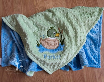Personalized Minky Baby Blanket,  Mallard Duck Minky Baby Blanket, Personalized Baby Boy Blanket, Personalized Baby Gifts