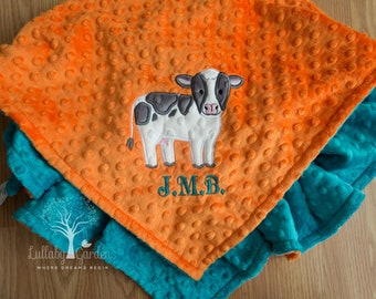 Personalized Minky Baby Blanket, Personalized Baby Gift, Personalized Baby Blanket, Appliqued Cow Minky Blanket, Custom Baby Blanket
